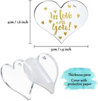 Akrilik Anahtarlık Boş Kalp Şeklinde Monogramlanmış Temizle Diskler Daireler Metal Bölünmüş Anahtarlık Anahtarlıklar Ile DIY Sevgililer Günü Hediyeleri DDF4748