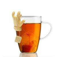 Mini con forma de dedo Soporte de cuchara Bolsa de té Estantería Silicona Creativa Cuchara de té Tienda TEAS Herramientas DDC5594