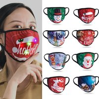 Christmas LED Mask Hanging Ear Type Luminous Sunscreen Dustproof Masks Christmas Decorations Cartoon Printing Designer Mask DDA668
