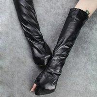 Пять пальцев перчатки Chicever осень черный для женщин женские дамы выявить пальцем тонкий разрез кожаная перчатка одежда аксессуары