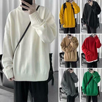 Sólido Jacket Cor Hong Kong estilo manga longa soltas shirt Thicken Knit Base de Dados de Sweater Homens E-baihui coreana Turtleneck