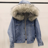 warm fashion denim bomber jacket with faux shearling sherpa ...