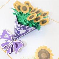تحية ستيريو بطاقات الهدايا عباد الشمس باقة 3D بطاقة مهرجان بطاقة بريدية فارغة ورقة يدويا قص لدعوات هدايا