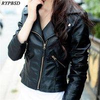 Perfecto Femme Cuir Chaqueta Mujeres Slim Negro Rojo Moda Múltiples Cremalleras Abrigos de cuero Ladies Pu Biker Mujer Jackets Y201001