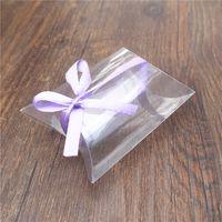 Geschenk Wrap 100pieces / Lot Stil Kunststoff Kissen Form Hochzeit Favor Box Taschen Party Matte Frosted PVC Material Süßigkeiten Großhandel