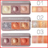 CmaaDU 3 ألوان ماكياج ظلال العيون لوحة المفاتيح الإصبع ثلاثة لون المهروسة البطاطس عينيه المعدنية وميض عينيه 12G