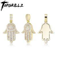 Topgrillz 2020 Neue Hand Anhänger Halskette mit Tenniskette Micro Pave Eyed Out Cubic Zirkonia Hip Hop Rock Modeschmuck Geschenk