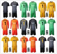 19 20 adultos de manga larga Azul Amarillo Portero camisetas # 1 Ter Stegen fútbol juegos de piezas de Marc-André ter Stegen 2020 Fútbol Portero Uniforme