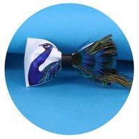 RBOCOTT رجال القوس التعادل أزياء الجدة الريشة ربطة مطبوعة الطاووس الأزرق بابيون للرجال الحزب اكسسوارات الزفاف هدية العريس 201027