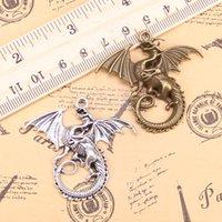 18шт привесы волшебный крылатый дракон мифология 43x46mm античные посеребренные подвески делают DIY ручной работы тибетские серебряные украшения