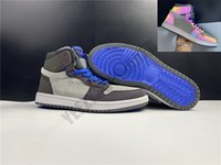 2020 LPL Yakınlaştırma Konfor Basketbol Ayakkabı 1s Deri Gri menekşe bukalemun Tasarımcı Erkek Kadın Yüksek Atletik Spor Sneaker CK5666-100