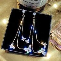 Dangle Chandelier Luxo Ultra Flash Borboleta Zircon Brincos Brincos Clássicos Senhora Longa Franja Jóias De Cristal Para Mulheres Presente