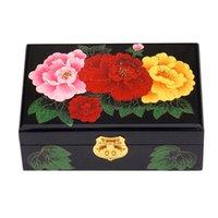 2 층 빈티지 장식 잠금 칠기 중국어 보석 스토리지 박스 생일 결혼 선물 시계 메이크업 상자 나무 보석 상자