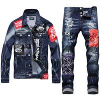 Erkekler Stretch Denim Ceket + Ripped Delik Skinny Jeans için 2020 Erkek Takımları Sonbahar ve Kış İnce Baskılı Patch Jeans İki Adet Setleri