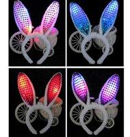 Светодиодный свет мигающий пушистые кролики уши голова головы блестки головной убор кролик уши костюм аксессуар косплей женщина хэллоуин рождественская вечеринка SN2316