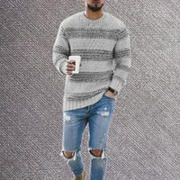 Men's Sweaters Striped And Pullovers Men Long Sleeve Knitted Sweater Homme High Quality Winter O Neck Warm Ployester Coats