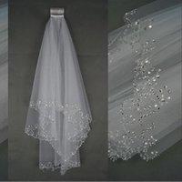 Günstige Neue Luxus-Hochzeit verschleiert Kurz Hochzeit Brautschleier 2 Schicht Handgemachte wulstige Crescent Rand Brautzusätze Schleier Weiß Elfenbein