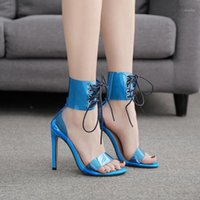 Sandálias feminina sandália moda mulheres sapatos 2021 saltos esthppy meninas luxo plástico stiletto bege lace up couro alto conforto fechado1