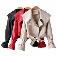 Pirate Curiosity Streetwear Solta Mulheres Faux Couro Jaqueta Mulheres Queda de 2019 Desligar Collar Bow Zipper Jackets Casual Pu Jacket1