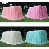 Snow Yarn Table Cover Tenda Surround Surround Wedding Birthday Cake Check-in Scrivania Tavolini a colori solidi Gonna verde Nuovo 30LD M2