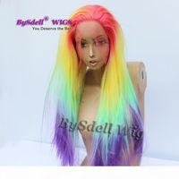 Cinq tons arc-en-ciel couleur ombre perruque synthétique longue soyeuse silky sirène sirène coiffure coiffure de lacette fronzère femme perruque cosplay fête
