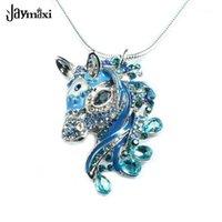 Ketten jaymaxi 3d horse anhänger halskette silber farbe schlange kette 24 zoll blau lila schwarze strunsteine geschenk für mädchen1