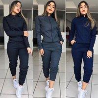 Trajes de mujer Rebicoo Autumn Explosión Modelos Europa y América Color sólido de las mujeres de la mujer de la moda de la moda de los deportes de dos piezas s-