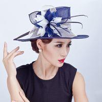 Las mujeres elegantes del cóctel de Fascinator del sombrero de ala del sombrero Headwear de la manera boda de la novia del pelo accesorios de la señora de la iglesia de Sinamay Sombreros 201013