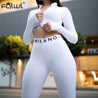 FQLWL 스트리트 화이트 핑크 2 두 조각 세트 여성 의상 Fitnesss 긴 소매 자르기 최고 레깅스 여성 여성 운동복 여성 201007