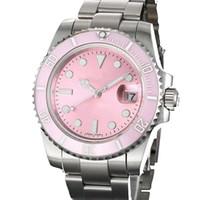 Heet 40mm mode roze roestvrij staal herenhorloges, automatische mechanische sporthorloge, datum waterdichte saffier spiegel polshorloges