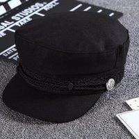 SBOY HATS 2021 Moda Bordado negro Capitán Capitán Sombrero Corriente Casual Cap Flat Cap Mujeres Sunhats Otoño Invierno Beret Hat1