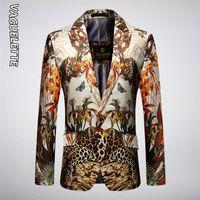 Vagueltte Luxe Luxury Motif Léopard Slim Fit Blazer Masculino Spring Mens Blazer Jacket Stylish Party Jackets de mariage 201113