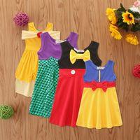 الفتيات الصغيرات فساتين الأميرة الفتيات حورية البحر الانحناء اللباس المرقعة اللون الصيف قطعة واحدة التنانير للأطفال حزب زي الملابس GG12603