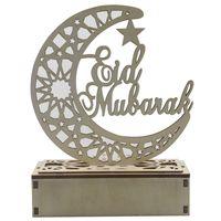 Eid Mubarak Ramadan Decor in legno Hollow Moon Star Blessing Word Decorazione per Happy Eid Mubarak Home Room Room Decorazione 189 N2