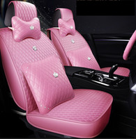 Universal fit اكسسوارات السيارات يغطي مقعد لسيدان مجموعة كاملة تصميم دائم بو الجلود المطلة مقعد يغطي مع الوسائد وسادة ل suv