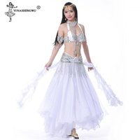 Yetişkin kadın oryantal dans kostüm bölünmüş etek göbek dans sutyen kemer sequins elmas sahne oryantal bellydance etek set1