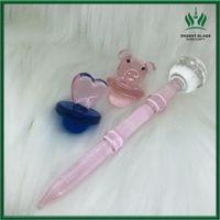 Pink Stick Glass Art Dabber Herramienta con pink Pig Loveheart Carb Cap Dabber para el quemador de aceite de cera Herramienta de BONG DAB para fumar