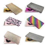 14 스타일 다이아몬드 포장 상자 3D 밍크 속눈썹 빈 포장 상자 반짝이 모조 다이아몬드 속눈썹 케이스 아이 속눈썹 플라스틱 상자