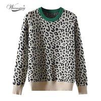 Осенние зимние женщины свитера леопардовые вязаные пуловеры с длинным рукавом контрастный цвет Crewneck Jumpers Sweter Mujer C-429 200928