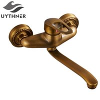 Uythner New Style Free Shipping Antique Brass Bathroom Basin Faucet w  Long Spour Mixer Tap Dual Handle Wall Mounted