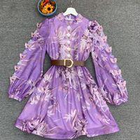 Logo populaire Robe pour femmes 2020 Automne Stand Collier Lanterne Sleeve Three-Dimensionnel Papillon Décoration Courreuse Courreuse