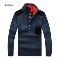 Фализа зимние вязаные свитера мужская половина молнии вязаные вязаные шерстяные теплые водолазки пуловеры пуловеры карманные повседневные мужские толстые шерсть XY104 201023