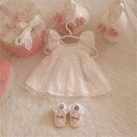 1 Satz Säuglingsmädchen Prinzessin Tutu Kleid + Stirnband + Socken + Schuhe Baby Taufe Taufe Mädchen Geburtstag Hochzeit Nettes Kleid LJ201221