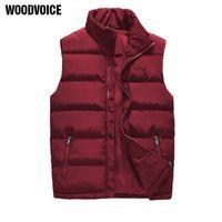Gilets pour hommes Vêtements de marque Woodvoice Veste d'hiver Automne Gaistte mâle manches sans manches sans manches imperméables épaissir épaissir chaud WQ28