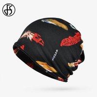 Beanie Skull Caps FS 2021 Trendy Feather Print Hip Hop Beanies Winter Hats For Women Men Black Gray Plus Velvet Neck Warm Knitted Scarf Cap