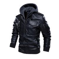 BOLUBAO Kış Yeni Erkek Biker Deri Ceket Marka Erkek Moda Casual Deri Ceket Kaban Yıkanmış Kapşonlu Ceketler Erkek