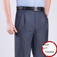 ICPANS Double Pleated Suit Pants Men Straight Loose Office F...