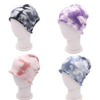 Hombres Mujeres Gorros Caps Invierno Cálido Corbata Teñido Punto Hats Adultos Otoño Casual Gorros Hip Hop Crochet Hats Soft Skull Caps Cabeza Use LY2203