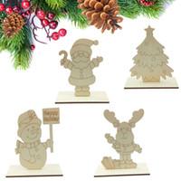 Новогодние украшения Дети Картина Белый эмбрионов DIY деревянная доска Xmas детей Подарочные настольные украшения