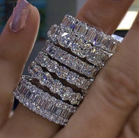 Vintage Mode Frauen Hochzeit Ringe Pfirsich Herz CZ Diamant Finger Ringe Ewigkeit Hochzeit Engagement Band Ringe Schmuck Weihnachtsgeschenk